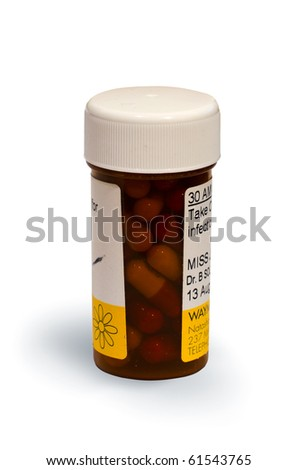 A bottle of prescription medicine isolated on white background - stock photo