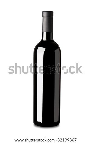 A bottle of red wine isolated on white. It has a clipping path. - stock photo