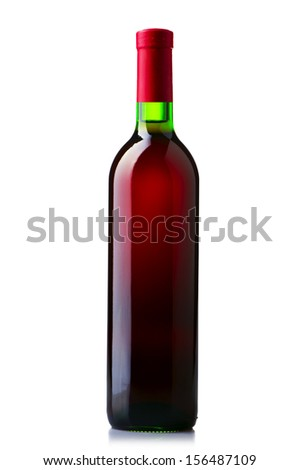 A bottle of red wine on white isolate - stock photo