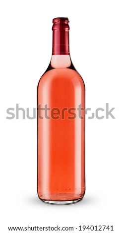 A bottle of rose wine isolated on white background -Clipping Path - stock photo