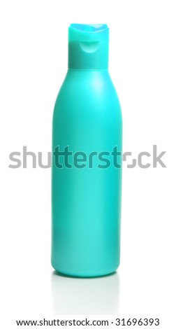 A bottle of shampoo is isolated on a white background