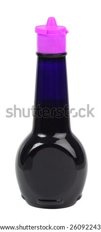 a bottle of soy sauce with a pink lid - stock photo