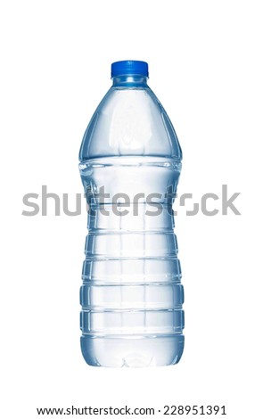 A bottle of water on white background - stock photo