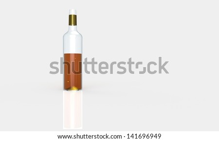 a bottle of whiskey isolated on white