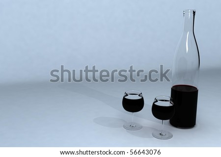 a bottle of wine and two glasses on a gray background - stock photo