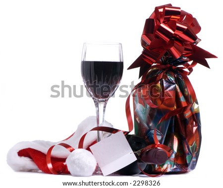A bottle of wine for the holidays - stock photo