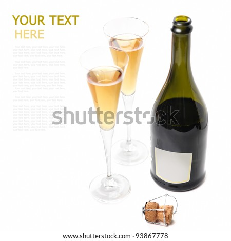 A bottle of wine on a white background with two glasses of (with sample text)