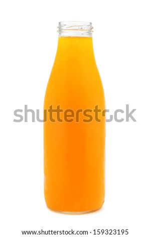 a bottle with orange juice on a white background