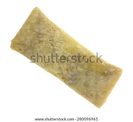 A bottom view of a chimichanga chicken cheese burrito wrap. - stock photo