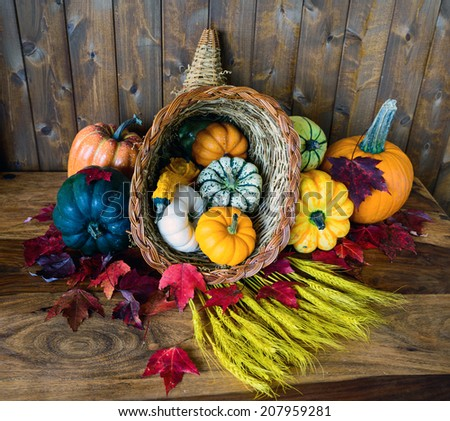 A bountiful cornucopia with squash, gourds, pumpkins, wheat and leaves on an old antique table.  - stock photo
