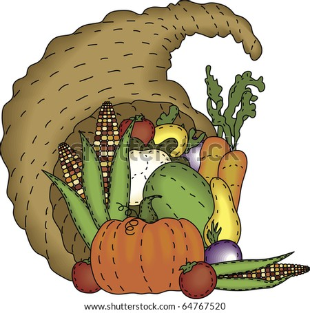 a bountiful harvest in a folk art styled cornucopia