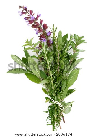 A bouquet garni of fresh rosemary, flowering sage, and oregano.