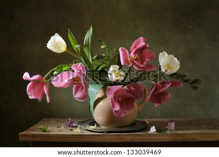 A bouquet of beautiful tulips - stock photo