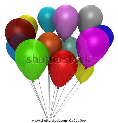 A bouquet of colorful balloons - a 3d image - stock photo