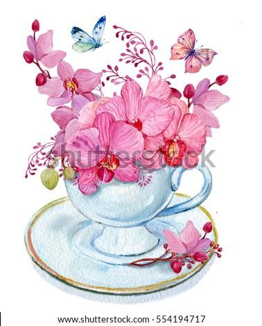 bouquet flowers cup butterflywatercolor illustrationbouquet pink