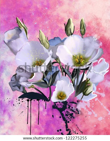 a bouquet of flowers, watercolor - stock photo