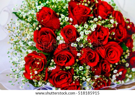 A bouquet of red roses of a wonderful wife.