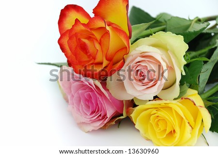 A bouquet of roses isolated on white background. - stock photo