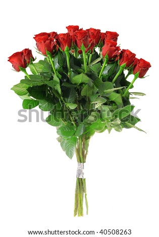 A bouquet of roses isolated on white background - stock photo