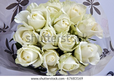 A bouquet of white roses wrapped in cellophane
