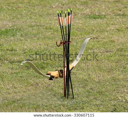 A Bow and Arrows for Modern Day Archery Sport. - stock photo