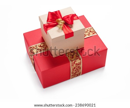 A bow from a string on a box wrapping / studio photography of red and white box wrapping ribbon with bowknot - on white background  - stock photo