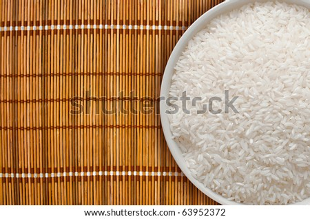 A bowl full of white rice, top view - stock photo