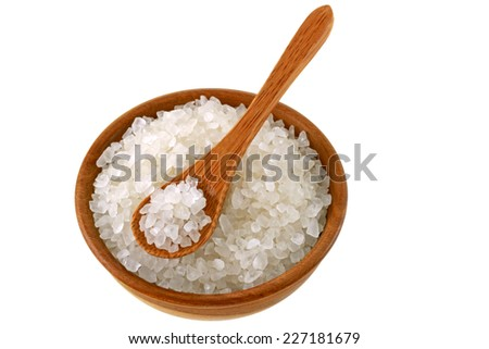 A bowl of Australian sea salt, isolated on white background - stock photo