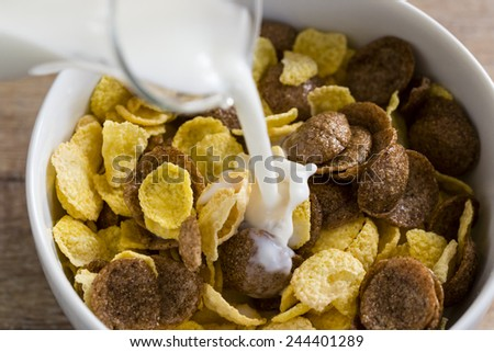 A bowl of cereal corn flakes with milk for healthy breakfast. - stock photo