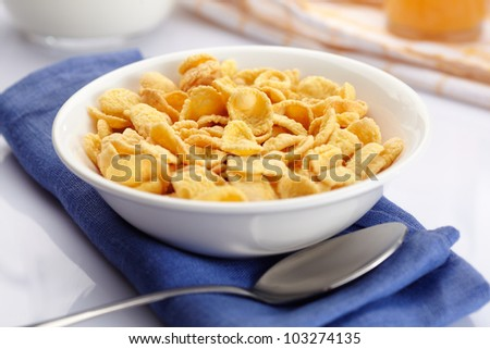 A bowl of cornflakes - stock photo