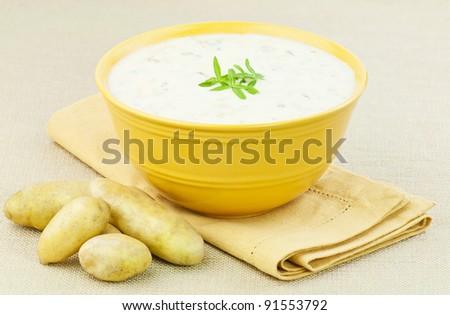 a bowl of creamy potato soup - stock photo