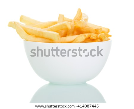 A bowl of crispy french fries isolated on white background. - stock photo
