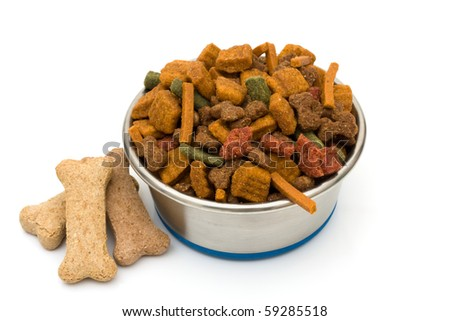 A bowl of dog food isolated on a white background, feed your dog good food - stock photo