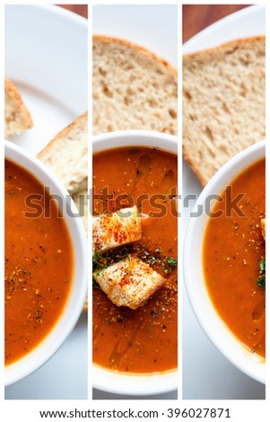 A bowl of fresh tomato soup in white ceramic bowl, garnished with herbs, croutons, seasoning and a drizzle of olive oil, and served with crusty wholemeal bread. Triptych collage. - stock photo