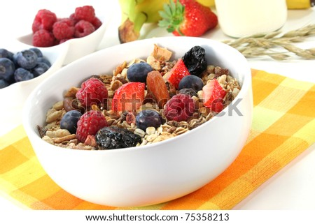 a bowl of fruit muesli with fresh berries