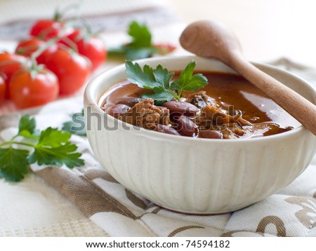 A bowl of homemade chili kidney bean soup with meat