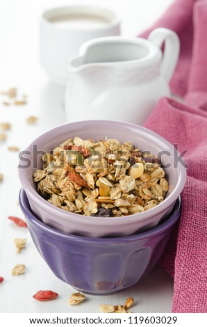 A bowl of homemade granola with goji berries on the table