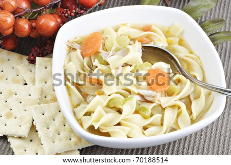 A bowl of hot homemade chicken noodle soup with crackers, horizontal with copy space - stock photo