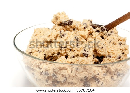 A bowl of raw chocolate chip cookie dough - stock photo