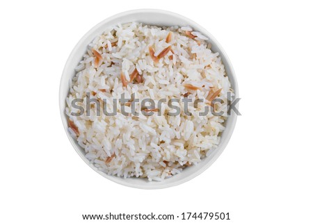 A Bowl of Rice Isolated on a White Background - stock photo