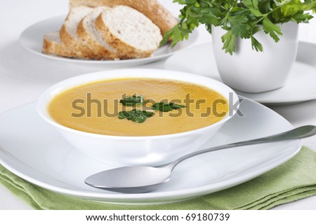 A bowl of soup with parsley and few slices of bread - stock photo