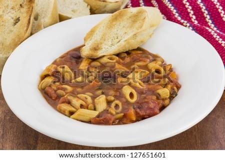 a bowl of traditional Pasta Fagioli - stock photo