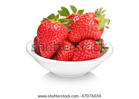A bowl with bunch of strawberries isolated on white background - stock photo