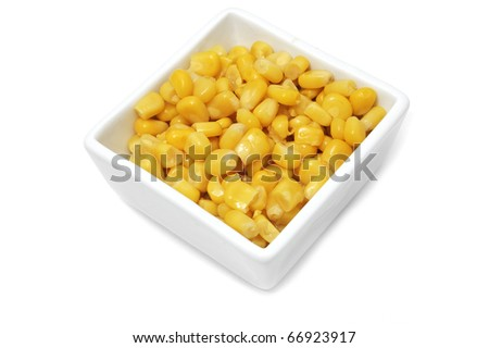 a bowl with cooked corn isolated on a white background - stock photo