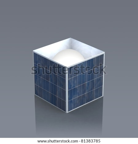 a box made of photovoltaic panels with the sun inside