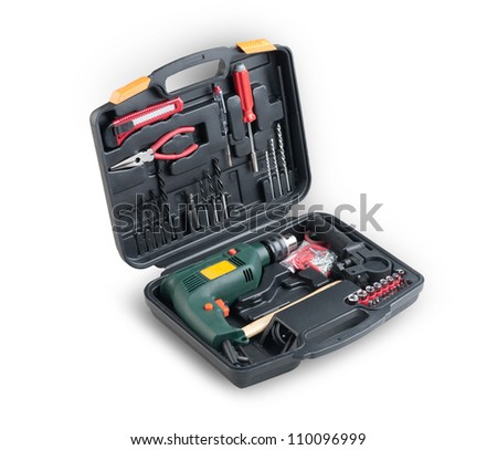 A box of drill and accessories