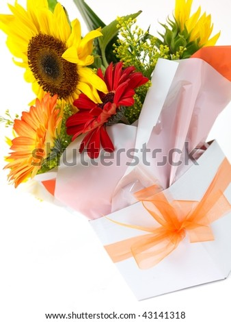 A box of flowers isolated against a white background