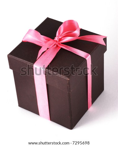 A box of gift with Pink ribbons. - stock photo