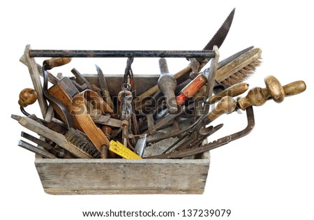 a box of old tools for woodworking - stock photo