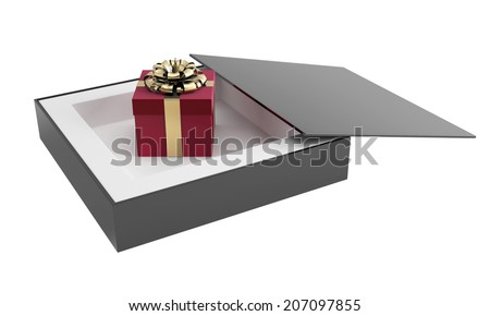 A box with a gift is wrapped around a gold ribbon. 3d render illustration - stock photo